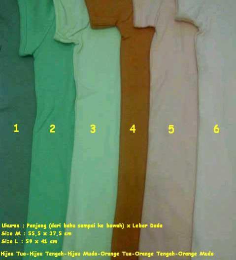 Pilihan Warna : - Hijau Tua (1) - Hijau Tengah (2) - Hijau Muda (3) - Orange Tua (4) - Orang Tengah (5) - Orange Muda (6)
